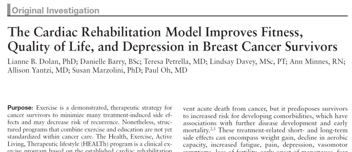 Toronto Rehab Institute HEALTh Breast Cancer Exercise Program Study