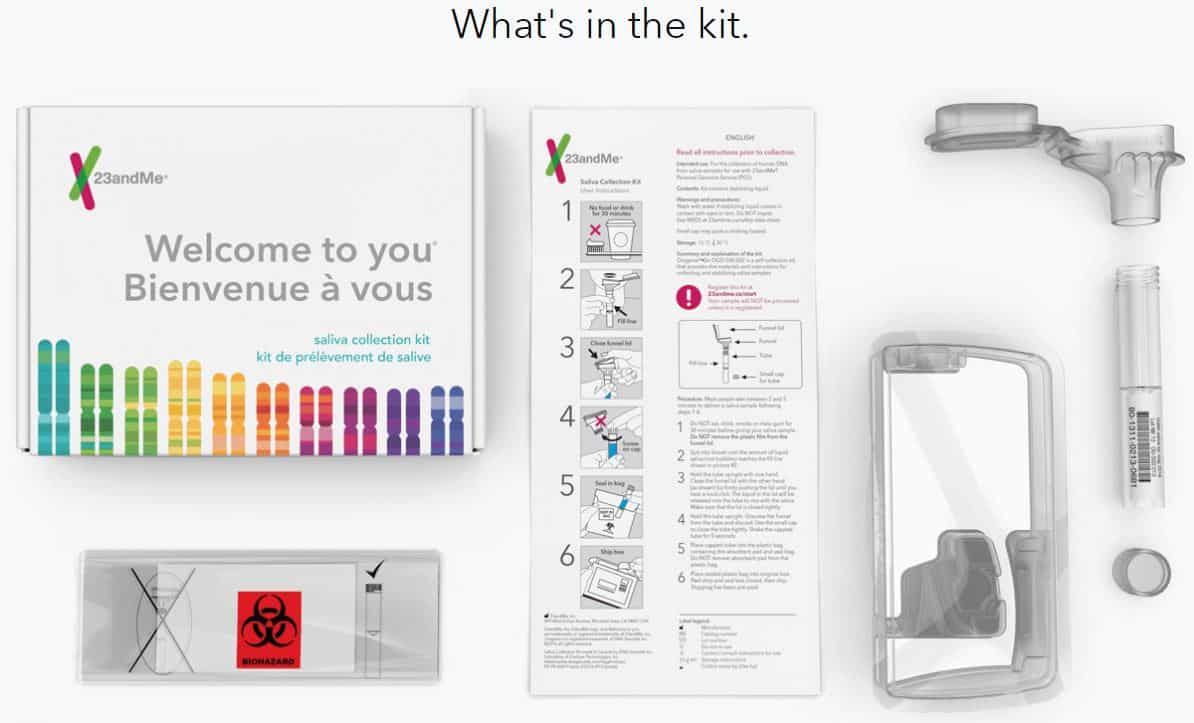 23andMe Genetic Testing Kit Contents