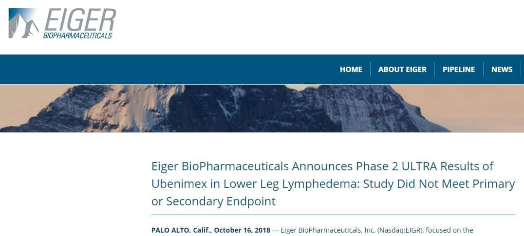 Eiger Ubenimex Ultra Lymphedema Clinical Trial Results Press Release