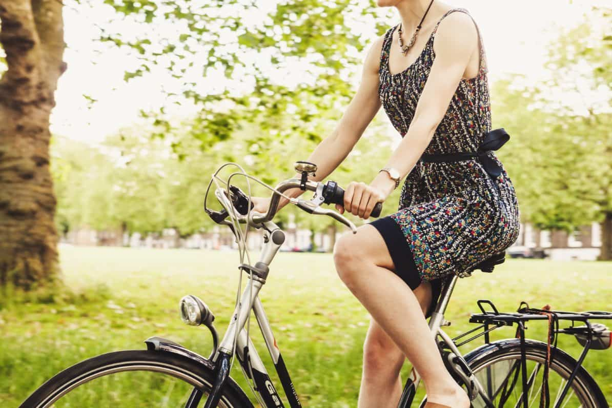 Woman on bicycle picture for vaginal laxity