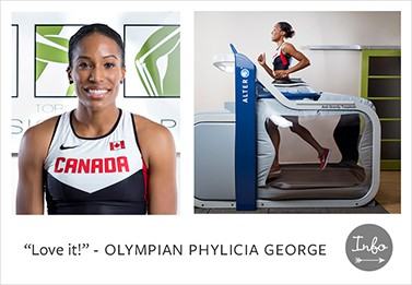 Olympian Phylicia George at Toronto Physiotherapy Danforth Location